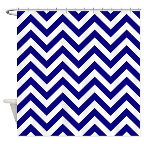 Navy Blue Chrevron Stripes Shower Curtain By Laughoutlouddesigns1