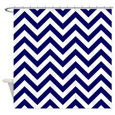Navy Blue Chevron Stripes 2 Shower Curtain By Laughoutlouddesigns1