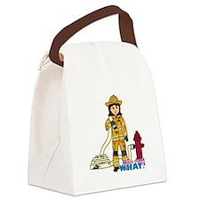 Firefighter Woman Medium Canvas Lunch Bag