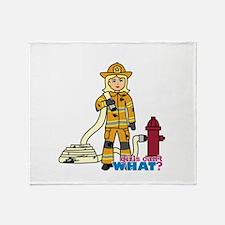 Firefighter Woman Light/Blonde Throw Blanket