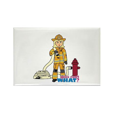 Firefighter Woman Light/Blonde Rectangle Magnet