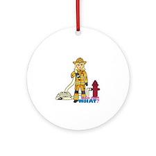 Firefighter Woman Light/Blonde Ornament (Round)