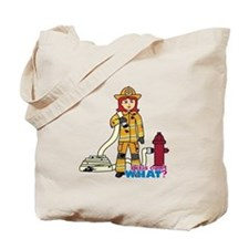 Firefighter Woman Light/Red Tote Bag