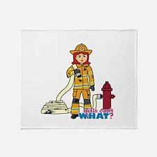 Firefighter Woman Light/Red Throw Blanket