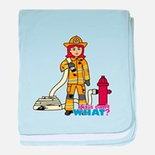 Firefighter Woman Light/Red baby blanket