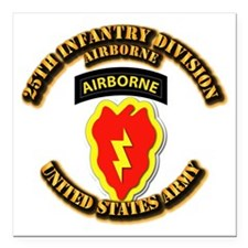 """Army - 25th ID - Airborne Square Car Magnet 3"""" x 3"""
