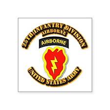 "Army - 25th ID - Airborne Square Sticker 3"" x 3"""