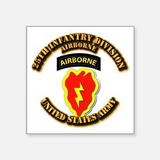 "Army - 25th ID - Airborne Square Sticker 3"" x 3"""