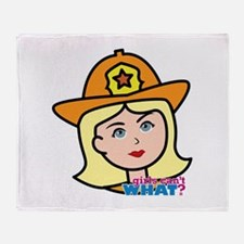 Firefighter Woman Head Light/Blonde Throw Blanket
