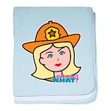 Firefighter Woman Head Light/Blonde baby blanket