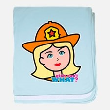 Firefighter Woman Head Light/Blonde baby blanket
