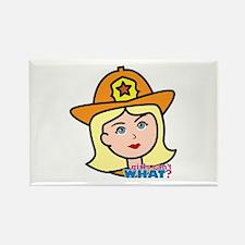 Firefighter Woman Head Light/Blonde Rectangle Magn