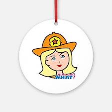 Firefighter Woman Head Light/Blonde Ornament (Roun
