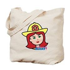 Firefighter Woman Head Light/Red Tote Bag