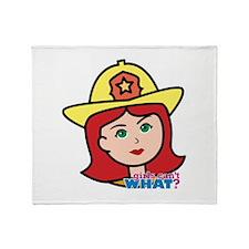 Firefighter Woman Head Light/Red Throw Blanket