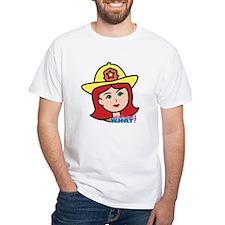 Firefighter Woman Head Light/Red Shirt