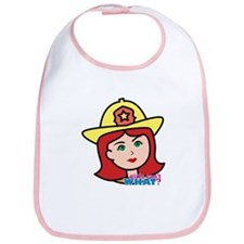 Firefighter Woman Head Light/Red Bib