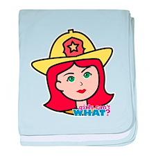 Firefighter Woman Head Light/Red baby blanket