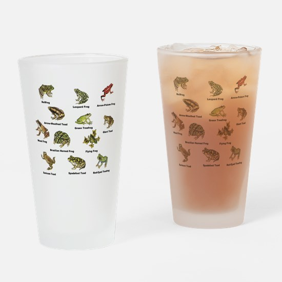 Frog and Toad Types Drinking Glass