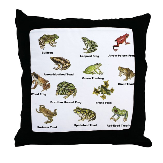 Frog And Toad Types Throw Pillow By 1stopshoppingts