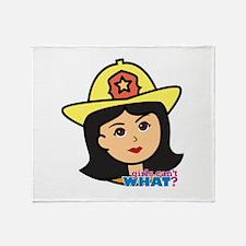 Firefighter Woman Head Medium Throw Blanket