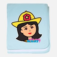 Firefighter Woman Head Medium baby blanket