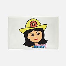 Firefighter Woman Head Medium Rectangle Magnet