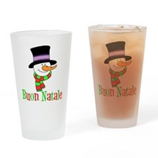 Italian Christmas Snowman Drinking Glass