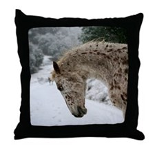 appaloosa in the snow Throw Pillow