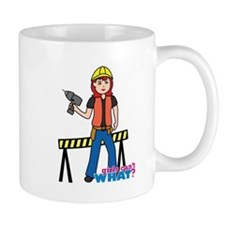 Construction Worker Woman Light/Red Mug