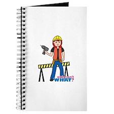 Construction Worker Woman Light/Red Journal