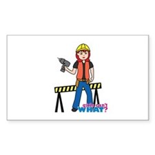 Construction Worker Woman Light/Red Decal