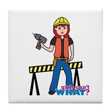 Construction Worker Woman Light/Red Tile Coaster