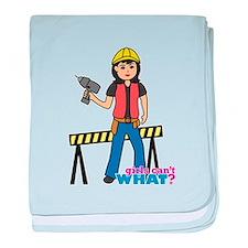 Construction Worker Woman Medium baby blanket