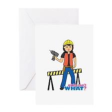 Construction Worker Woman Medium Greeting Card