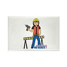 Construction Worker Woman Medium Rectangle Magnet