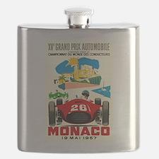 Vintage 1957 Monaco Grand Prix Race Poster Flask