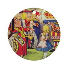 The Queen of Hearts with Alice Round Ornament