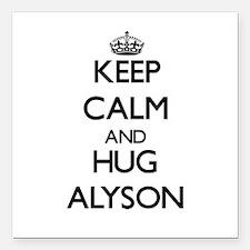 """Keep Calm and HUG Alyson Square Car Magnet 3"""" x 3"""""""