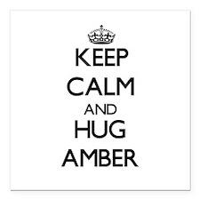 "Keep Calm and HUG Amber Square Car Magnet 3"" x 3"""