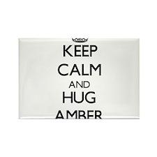 Keep Calm and HUG Amber Magnets