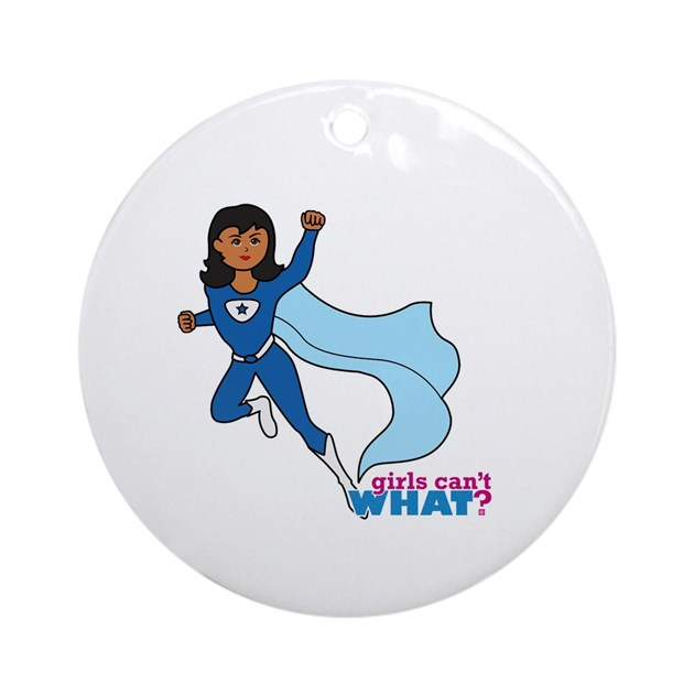 Superhero girl Blue (dark hair) Ornament (Round) by girlscantwhat