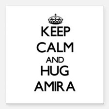 "Keep Calm and HUG Amira Square Car Magnet 3"" x 3"""