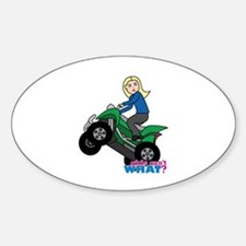 ATV Woman Blonde Sticker (Oval)
