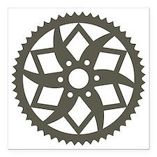 "Bike chainring Square Car Magnet 3"" x 3"""