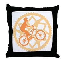 Biker chainring Throw Pillow