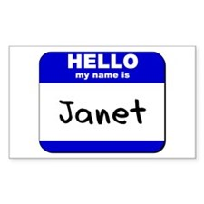 hello my name is janet Rectangle Decal