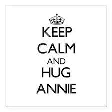 """Keep Calm and HUG Annie Square Car Magnet 3"""" x 3"""""""