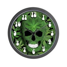 Pot Leaf Skull Wall Clock