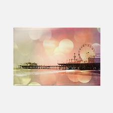 Sparkling Pink Santa Monica Pier Rectangle Magnet